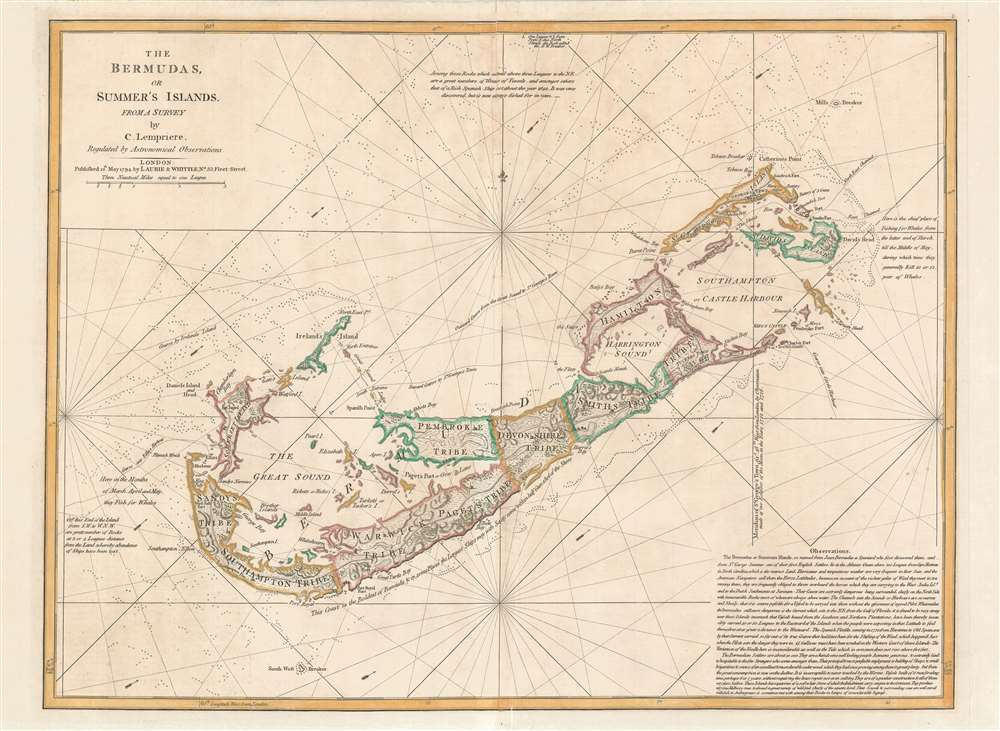 The Bermudas, or Summer's Islands from a Survey by C. Lempriere, regulated by Astronomical Observations. - Main View