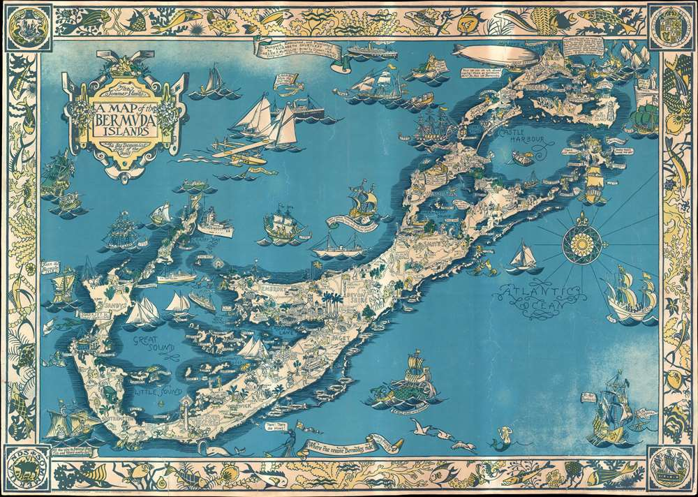 The Sommer Ilands. A map of the Bermuda Islands. Ya des Demonios ...
