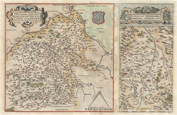 Regionis Biturigum Exactiss: Descriptio per D. Ioannem Calamaeum.   Limaniae Topographia Gabriele Symeoneo Auct.
