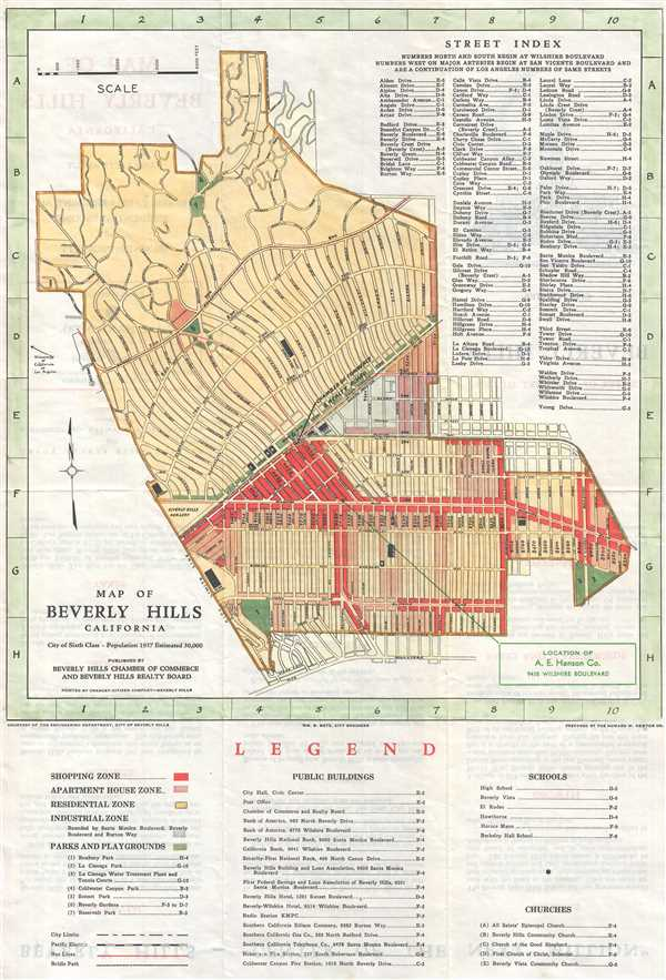 Map of Beverly Hills California - Main View
