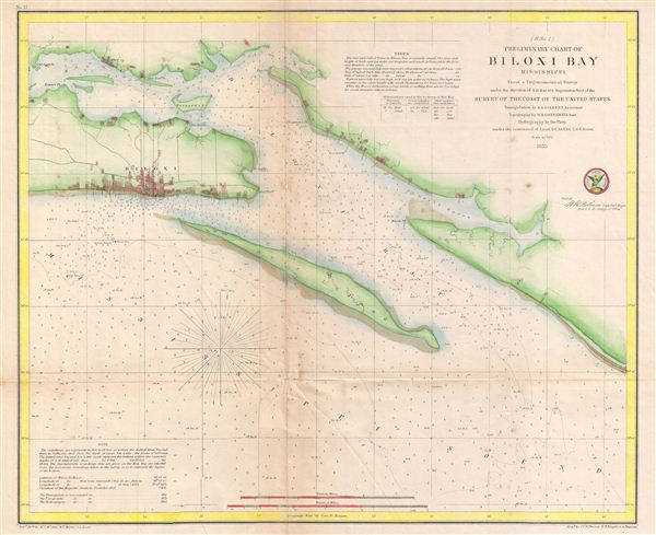 ( H No. 2 ) Perliminary Chart of Biloxi Bay Mississippi.