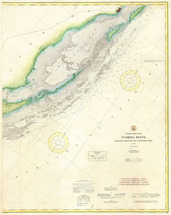 Coast Chart No. 166 Florida Reefs from Key Biscayne to Carysfort Reef. - Main View
