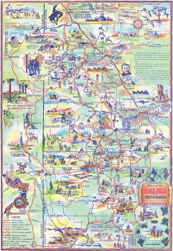 Souvenir Map of the Black Hills of South Dakota: The Sunshine State.