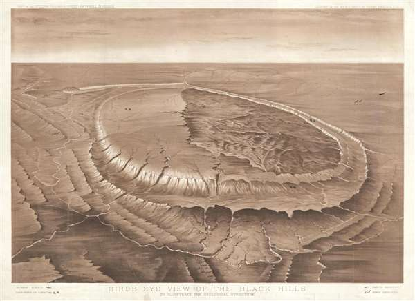 Bird's Eye View of the Black Hills to Illustrate the Geological Structure.