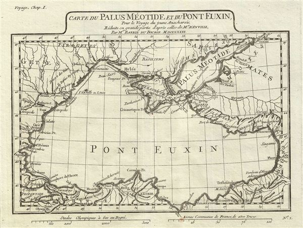 Carte du Palus Meotide et du Pont Euxin, Pour le Voyage du jeune Anacharsis.