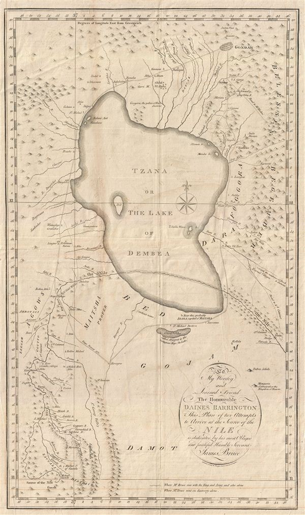 1790 James Bruce Map of Ethiopia and the Source of the Nile