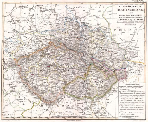 Mittel-Ostliches Deutschland enthalt Preuss. Prov. Schlesien, dan die Oesterreich Kronlander Kgr. Bohemen, Markgrafschaft Mahren, Hezogth, Ober-u. Neider-Schlesien.
