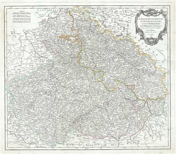 Le Royaume de Boheme, le Duche de Silesie, et les Marquisats de Moravie et Lusace, dresses d'apres les cartes de Muller.