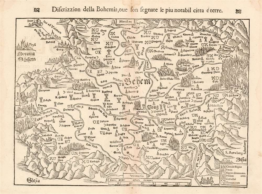 1545 Munster Map of Bohemia: 1558 Edition of the Earliest Acquirable Bohemia