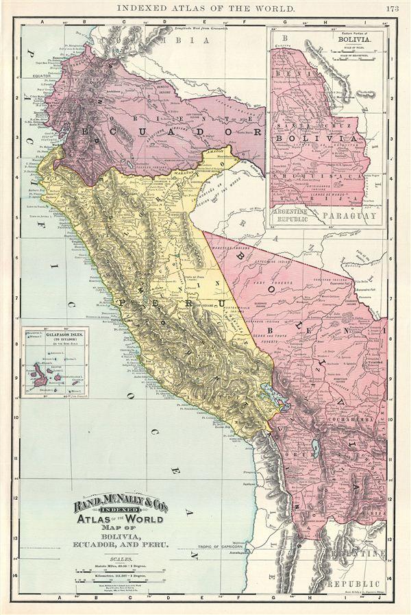 Map of Bolivia, Ecuador, and Peru. - Main View