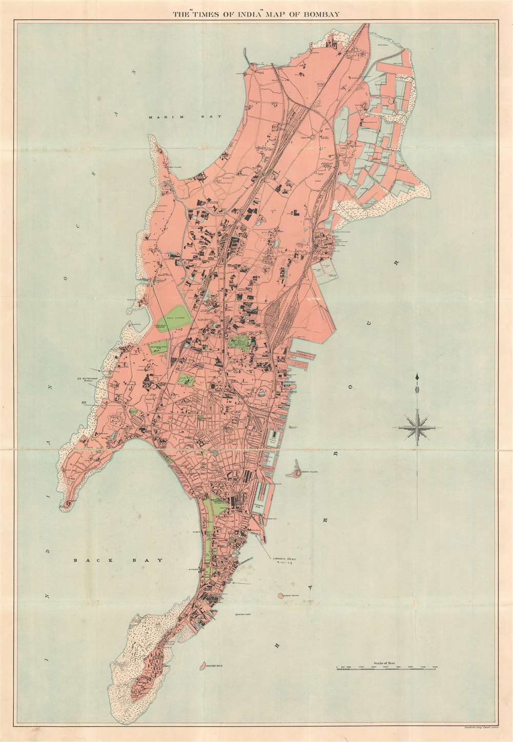 The 'Times of India' Map of  Bombay. - Main View