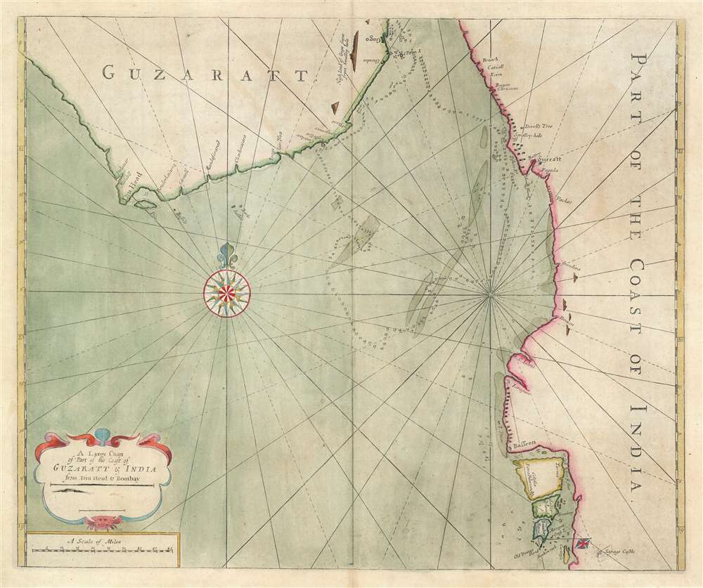 A large chart of part of the coast of GUZARATT and INDIA from Diu head to Bombay.