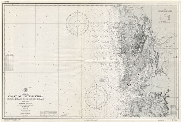 Indian Ocean Arabian Sea Coast of British India Arnala Island to Khanderi Island including Bombay Harbor.