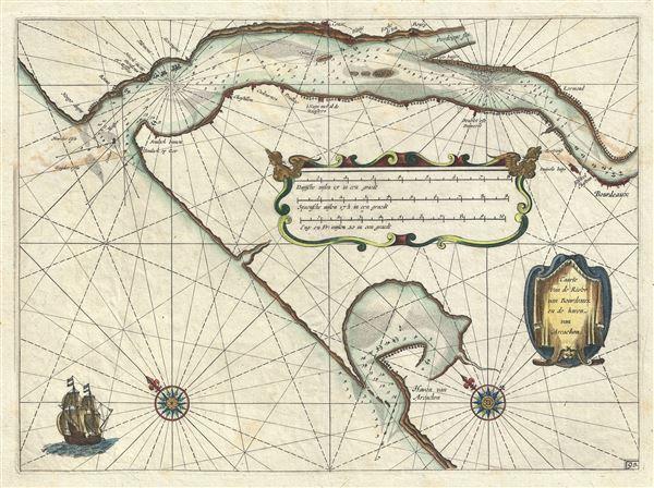 Caarte van de Rivier van Bourdeaux en de haven van Arcachon.