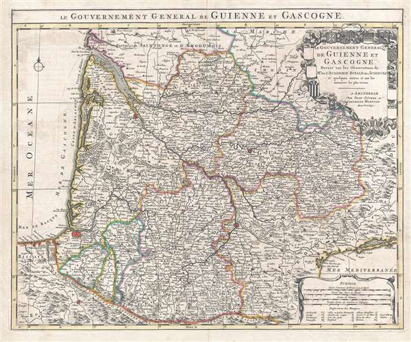 1742 Covens and Mortier Map of the Bordeaux Wine Region (Gironde, Gascogne, Guienne)