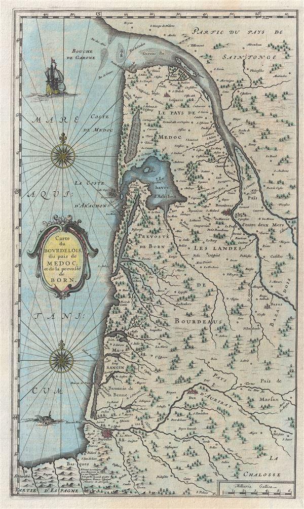Carte du Bourdelois du pais de Medoc et de la prevoste de Born.