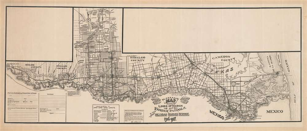 Map Showing Lines of March and Border Patrols, In My Mexican Border Service. 1916 - 1917. - Main View