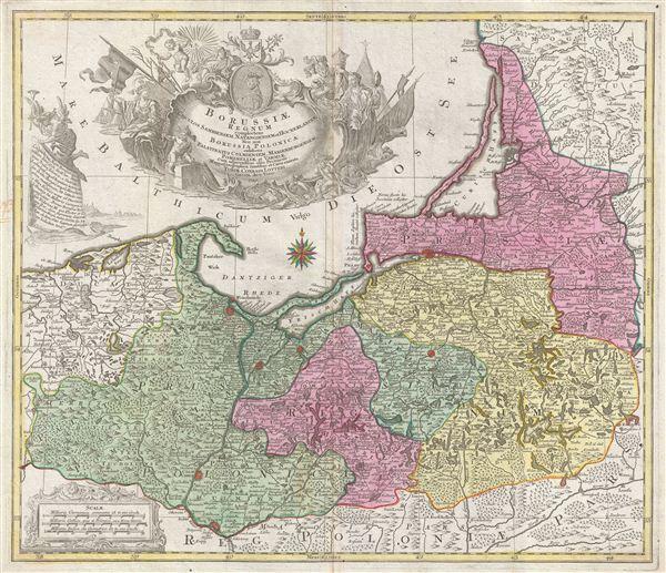 Borussiae Regnum Complectens Circulos Sambiensem, Natangiensem et Hockerlandiae nec non Borussia Polonica Exhibens Palatinatus Culmiensem, Marienburgensem, Pomerelliae et Varmiae.