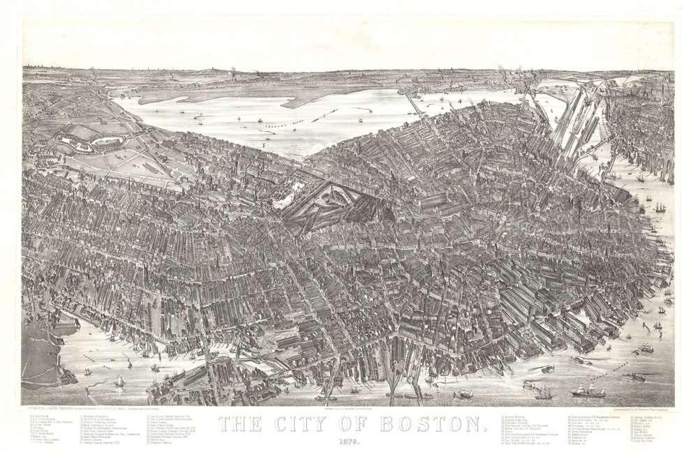 1879 Bailey / Hazen View and Map of Boston, Massachusetts