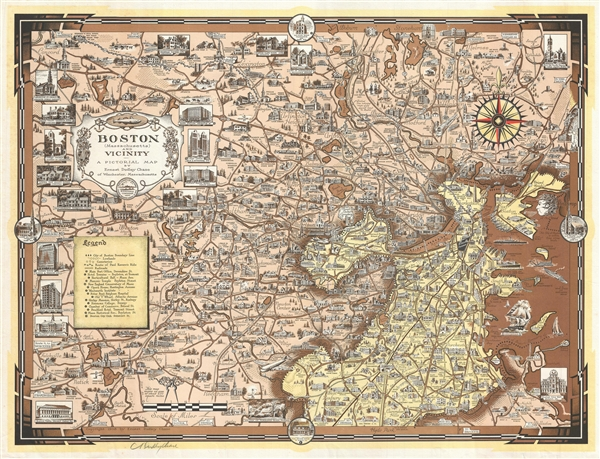 Boston (Massachusetts) and Vicinity. A Pictorial Map.