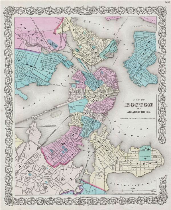 Map of Boston and Adjacent Cities. - Main View