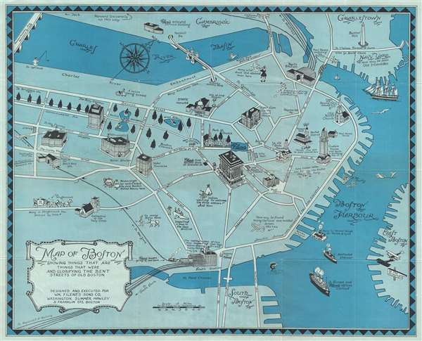 Map of Boston Showing Things That Are, Things That Were, and Glorifying the Bent Streets of Old Boston.