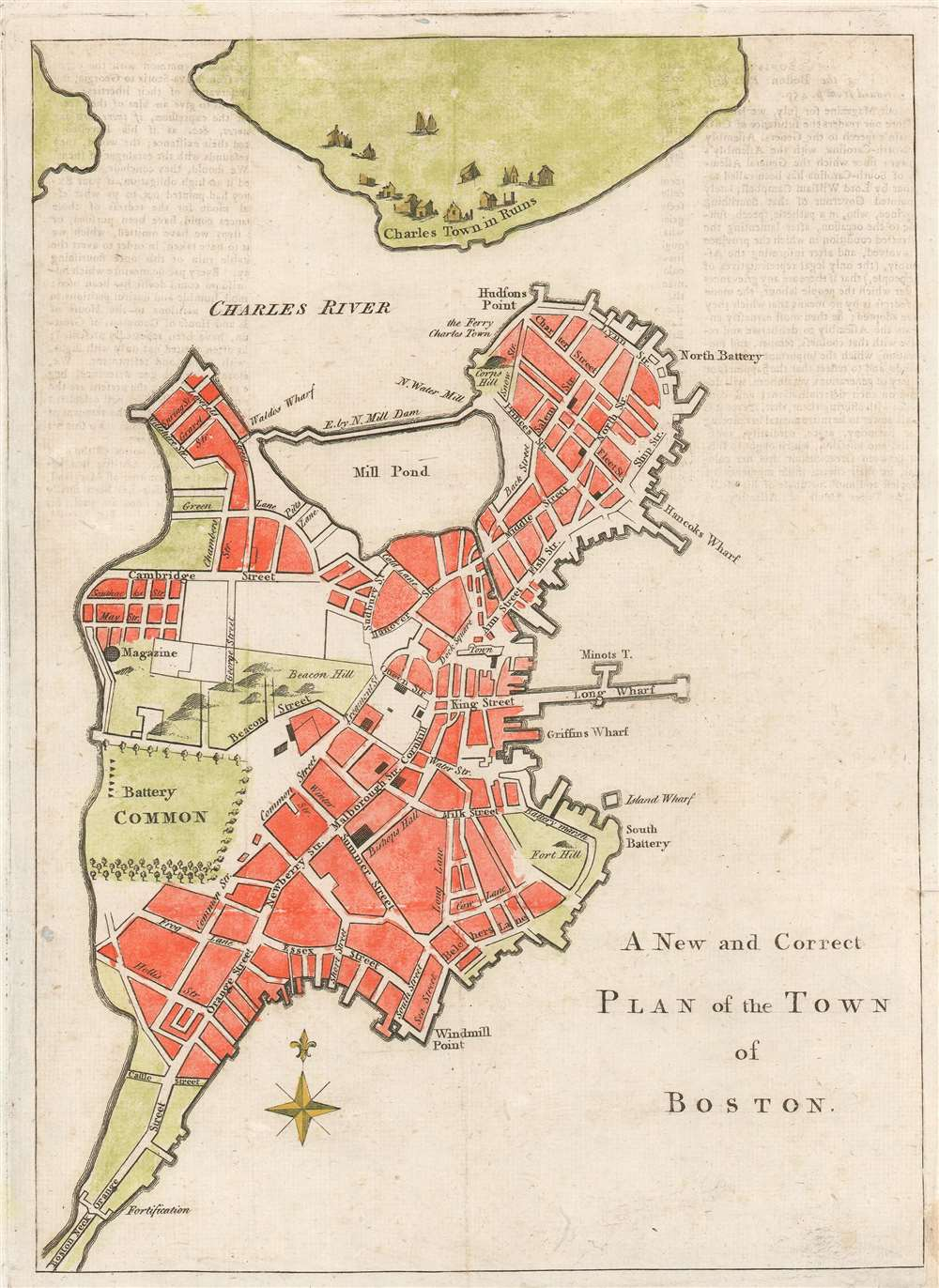 1775 map of boston A New And Correct Plan Of The Town Of Boston Geographicus Rare 1775 map of boston
