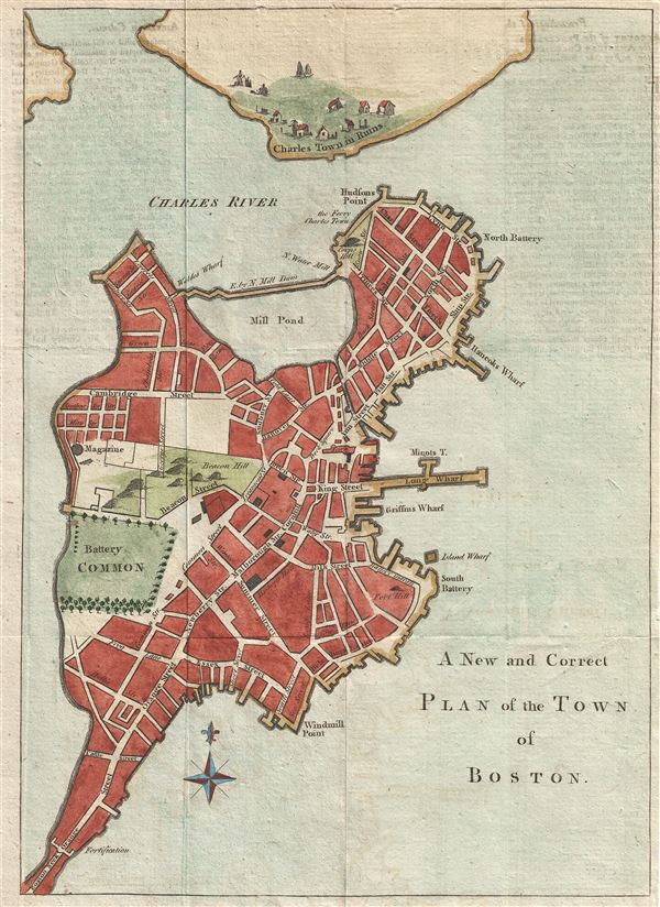 A New and Correct Plan of the Town of Boston. - Main View
