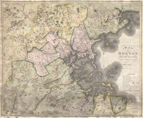 1919 Hales and Melish Map of Boston and Vicinity