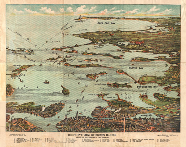 Bird's Eye View of Boston Harbor in colors Along the South Shore to Plymouth Cape Code Canal and Provincetown Showing all Steamboat Routes.