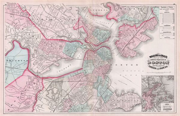 Walling & Gray's Map of the Compact Portions of Boston and the adjacent Cities and Towns.