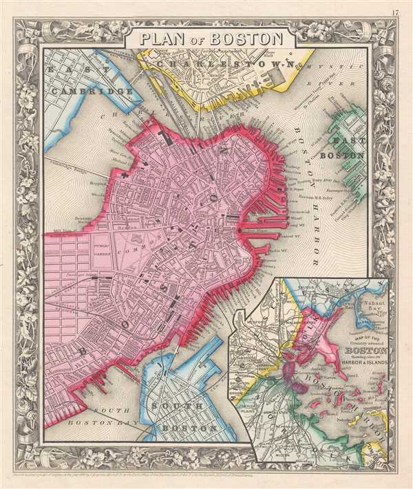 1860 Mitchell Map of Boston, Massachusetts