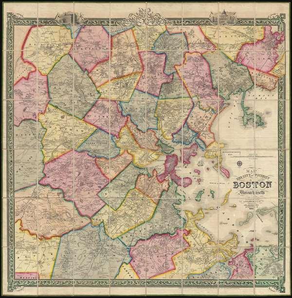 1852 Shield's Case Map of Boston, Massachusetts