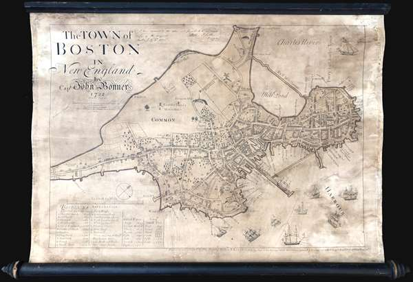 The Town of Boston in New England by Capt. John Bonner 1722. - Main View