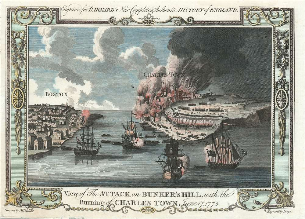 View of the Attack on Bunker's Hill, with the Burning of Charles Town, June 17, 1775. - Main View
