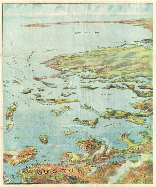 Bird's Eye View of Boston Harbor and South Shore to Provincetown Showing Steamboat Routes. - Main View