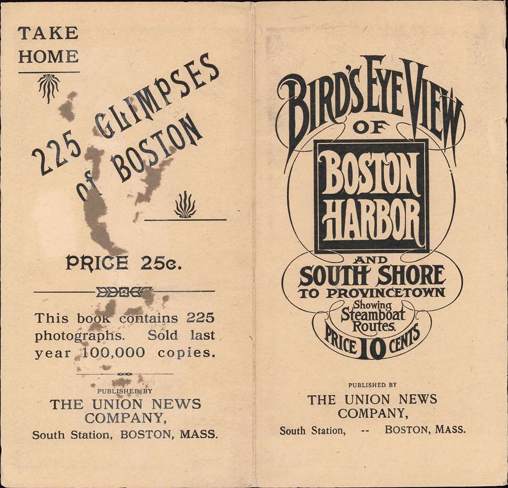 Bird's Eye View of Boston Harbor and South Shore to Provincetown Showing Steamship Routes. - Alternate View 1