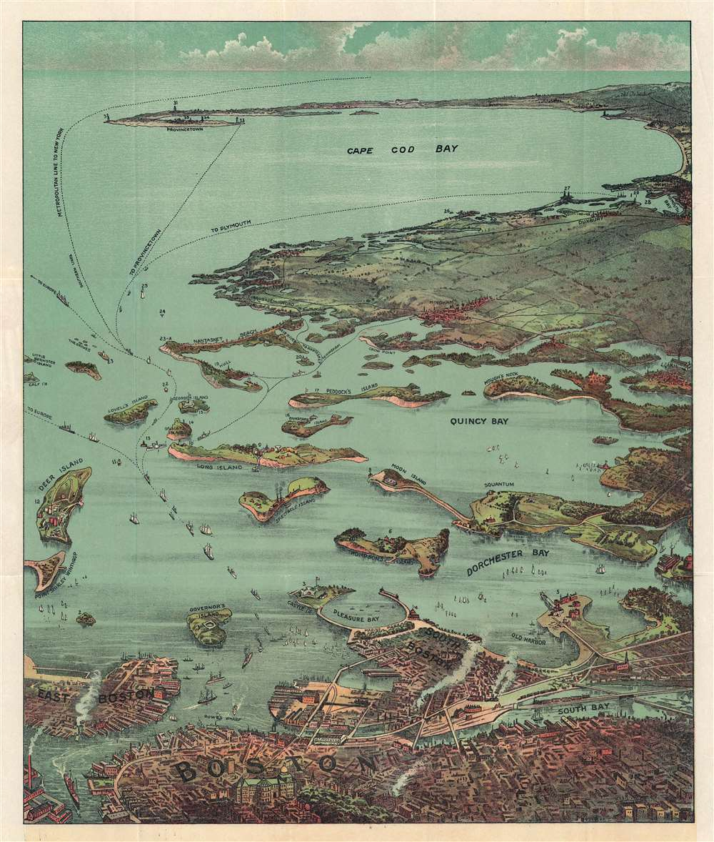 Bird's Eye View of Boston Harbor and South Shore to Provincetown Showing Steamship Routes. - Main View