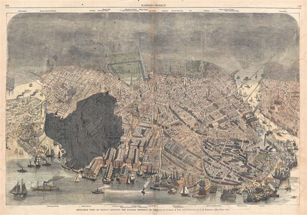 Bird's-Eye View of Boston, Showing the Burned District.