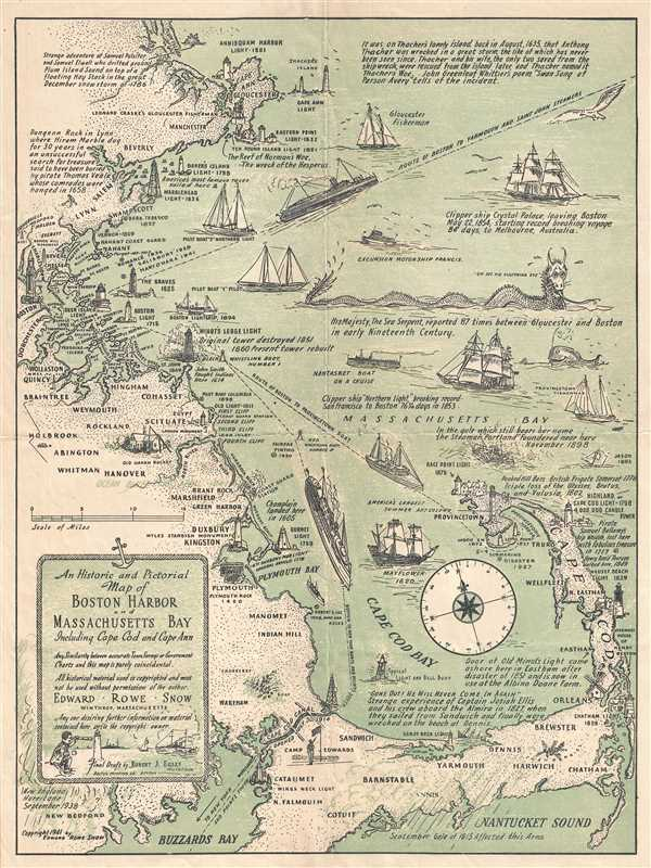 An Historic and Pictorial Map of Boston Harbor and Massachusetts Bay Includeing Cape Cod and Cape Ann.