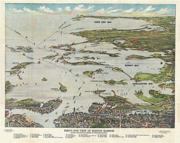 Birds Eye View of Boston Harbor Along the South Shore to Provincetown. - Main View