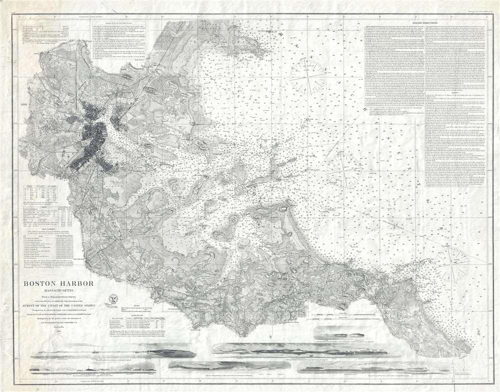 1867 U. S. Coast Survey Nautical Chart or Maritime Map of Boston Harbor