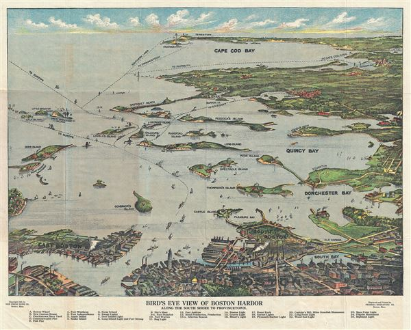 Birds Eye View of Boston Harbor Along the South Shore to Provincetown.