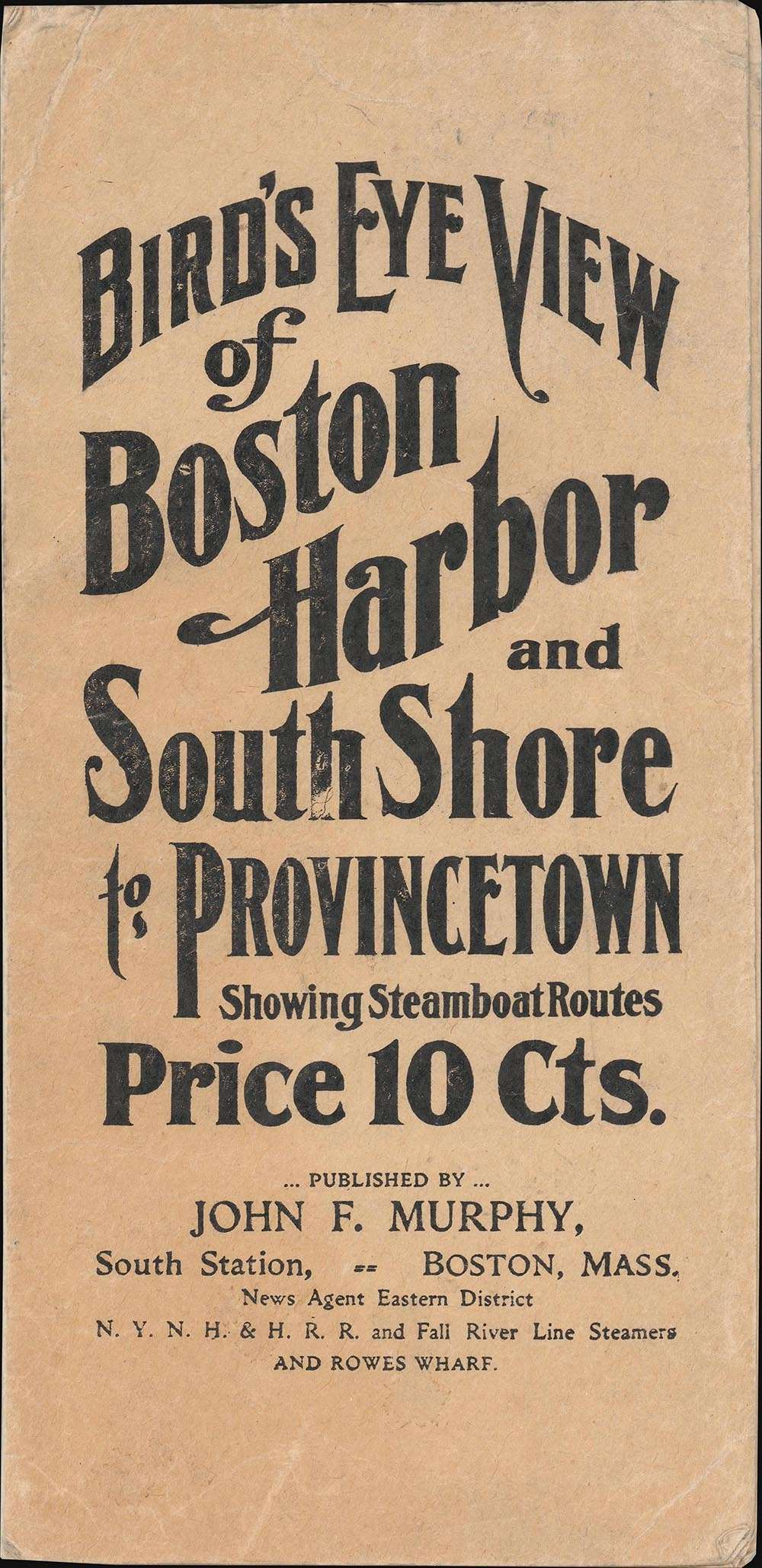 Bird's Eye View of Boston Harbor and South Shore to Provincetown Showing Steamboat Routes. - Alternate View 1