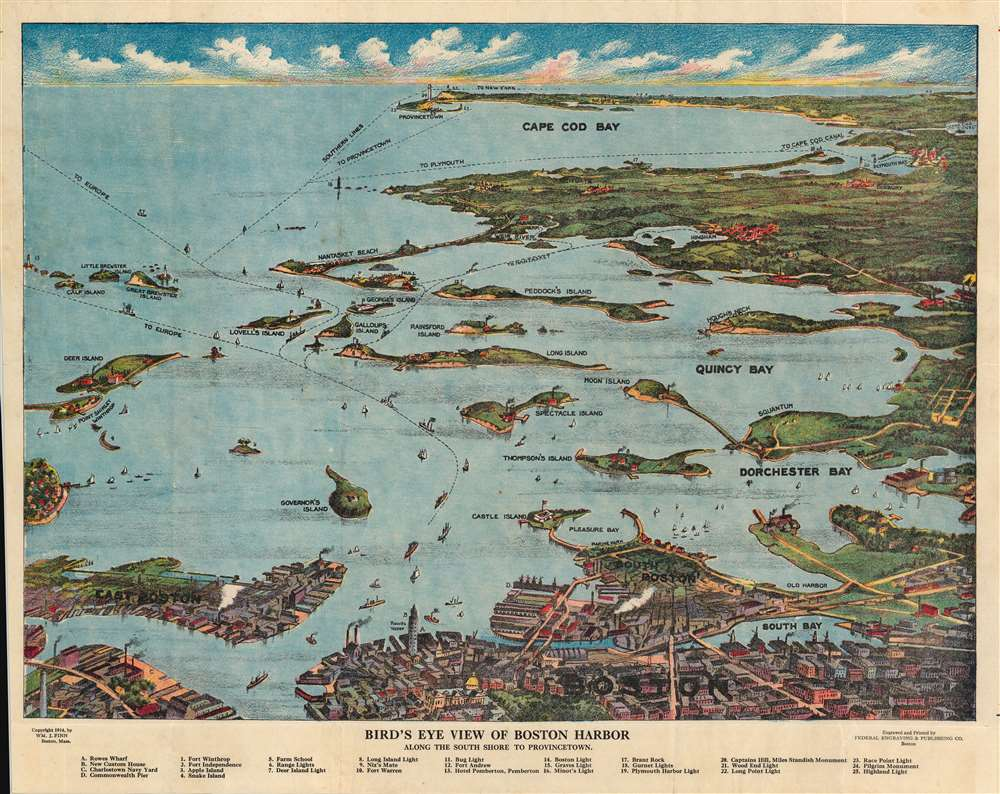 Bird's Eye  View of Boston Harbor along the South Shore to Provincetown. - Main View