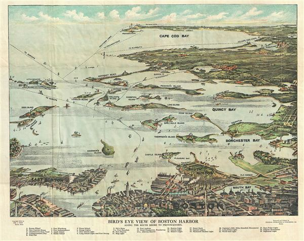 Bird's Eye View of Boston Harbor along the South Shore to Provincetown.
