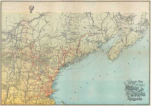 Tourist Map of the Boston and Maine Railroad Geographicus Rare – Maine Tourist Map