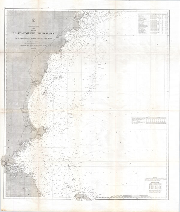 Preliminary Chart No. 3 of the Sea Coast of the United States from Cape Small Point Maine to Cape Cod Mass.