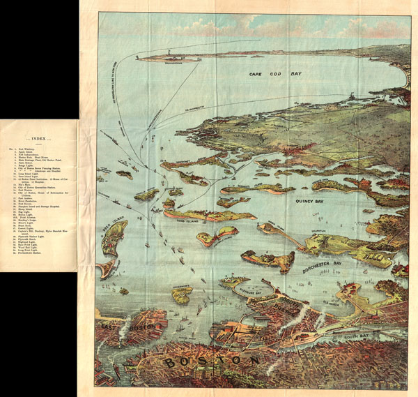 Bird's Eye View of Boston Harbor and South Shore to Provincetown Showing Steamboat Routes.
