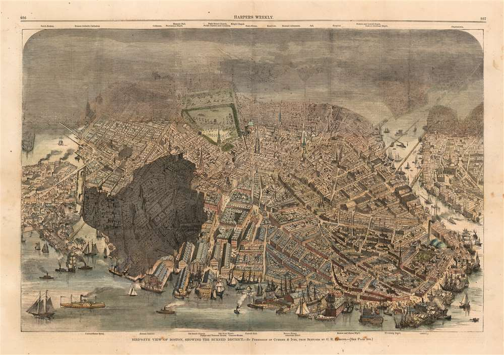 Bird's-Eye View of Boston, Showing the Burned District. - Main View